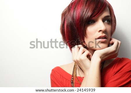 Young woman wearing red