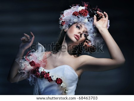 Young woman wearing spring dress - stock photo