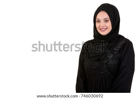 Young Woman Wearing Traditional Arabic Clothing hijab