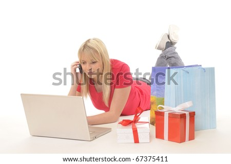 young woman while online-shopping