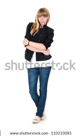 young woman white background