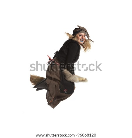 Young woman witch fly on broom. Isolated.