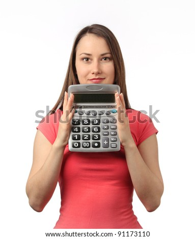 Young woman with a calculator in her hands smiling