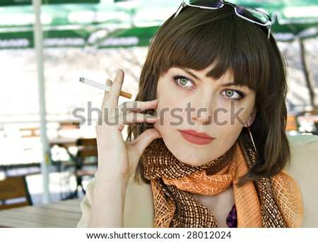 Young woman with a cigarette