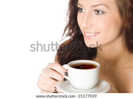 Young woman with a cup of hot drink