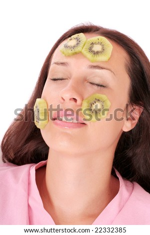 young woman with a kiwi mask
