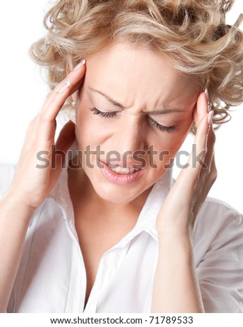 Young woman with a painful headache. Closeup portrait of  lady on white background