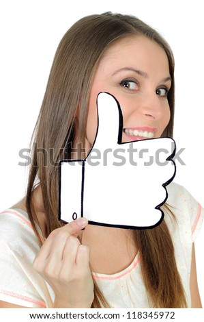 Young woman with a positive, hand made like sign