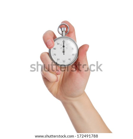 young woman with a timer