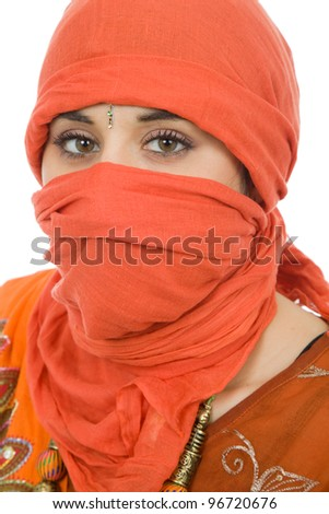 young woman with a veil, close up portrait, studio picture