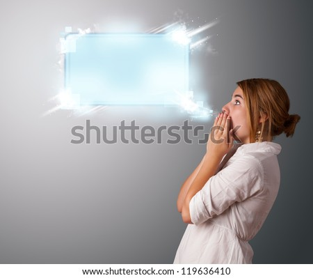 Young woman with abstract modern speech bubble and copy space