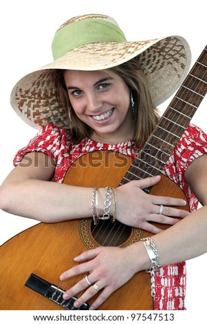 Young woman with an acoustic guitar