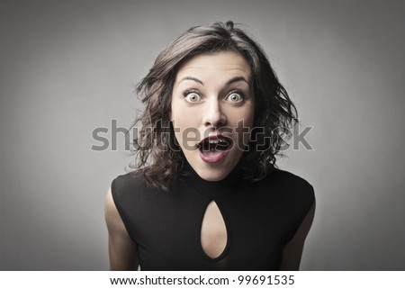 Young woman with astonished expression