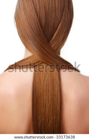 young woman with beautiful brown long hair