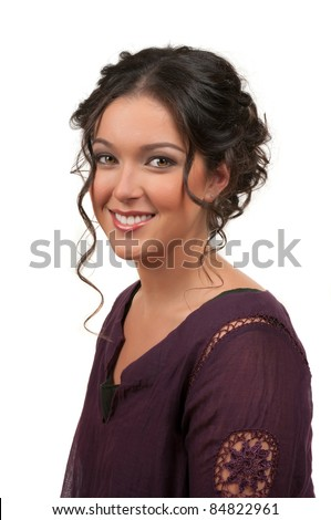 Young woman with beautiful hair style and make up