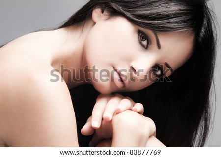 young woman with black long straight hair, beauty portrait