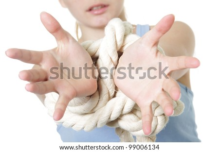 young woman with bound hands
