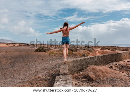 Young woman with braids and arms outstretched balancing on a stone wall on a sunny day Сток-фото ©
