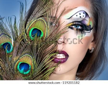 bright make up and peacock  Peacock Fantasy Makeup