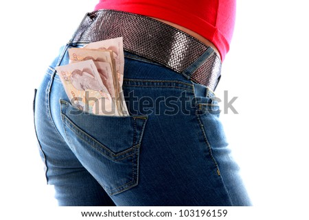 Young Woman with Cash in Back Pocket