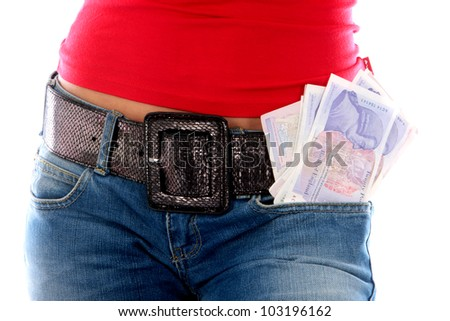 Young Woman with Cash in Pocket