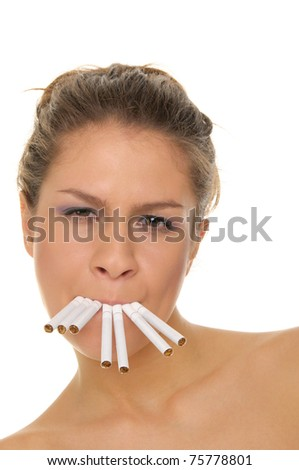 young woman with cigarette in his mouth isolated on white