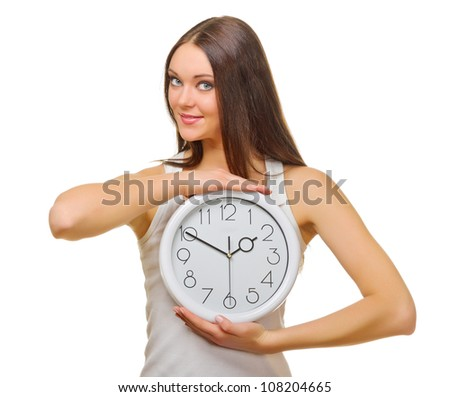 Young woman with clocks isolated