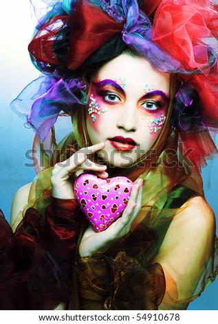 Young Woman With Creative Make-Up With Chocolate Heart Stock Photo 54910678  Shutterstock