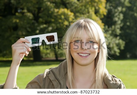 young woman with 3D-glasses
