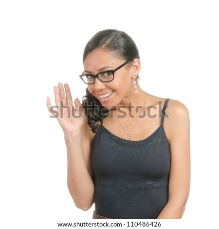 Young woman with different facial expressions. Body language. Happy, curious, friendly, open. Isolated on white .