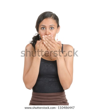 Young woman with different facial expressions. Body language. Surprised, shocked, bemused confused . Isolated on white .
