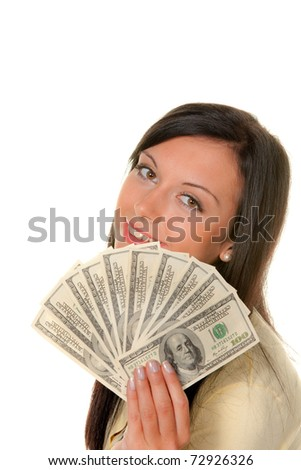 Young woman with dollar bills in front of white background