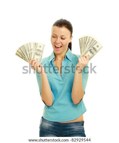 Young woman with dollar notes in both hands. Isolated on white background.