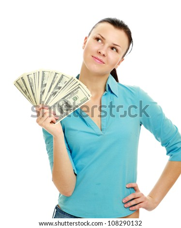 Young woman with dollar notes in her hand. Isolated on white background.