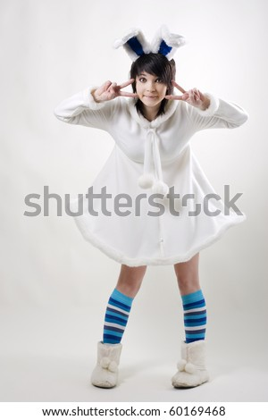 Young woman with east bunny ears