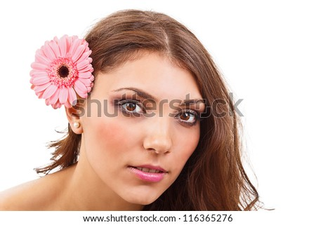 Young woman with flowers isolated on white background