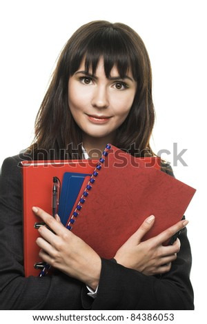 Young woman with folders in her hands