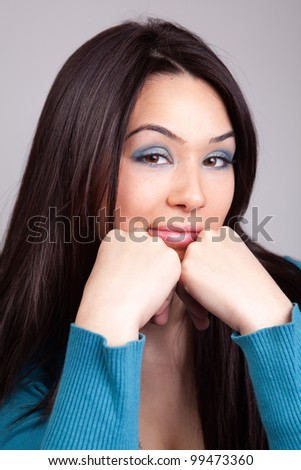 Young woman with funny face expression