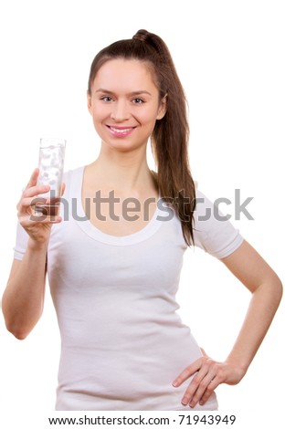 Young woman with glass of water isolated on white