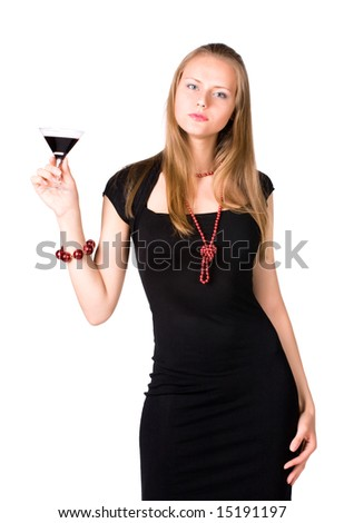 Young woman with glass of wine. Isolated on white.