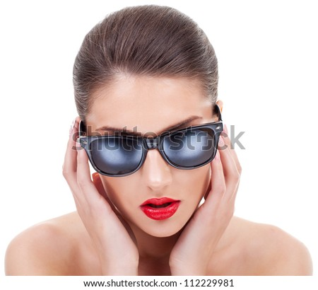 stock photo young woman with great sex appeal straightening her sunglasses 112229981 Mp4 hentai porn: Hardcore rape videos of sexy girl with big boobs