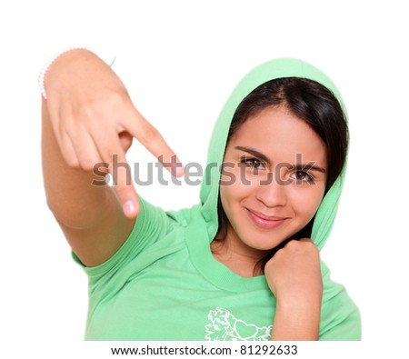 young woman with green blouse isolated over white background