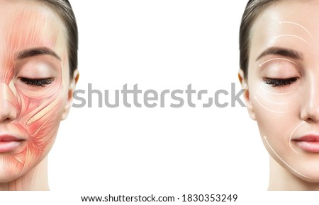 Photo of  Young woman with half of face with muscles structure under skin. Over white background.