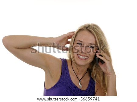 young woman with handy