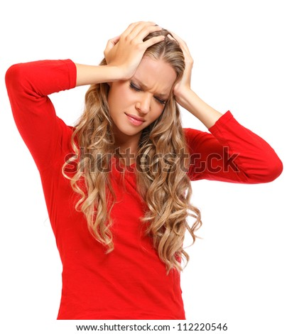 young woman with headache isolated on white