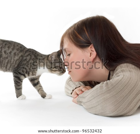young woman with her cat