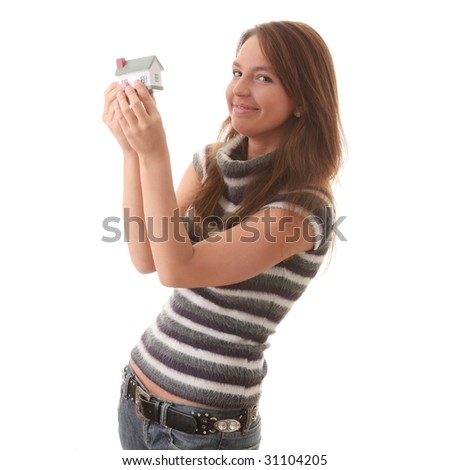 Young woman with hose model in hands isolated on white background - Real Estate loans concept