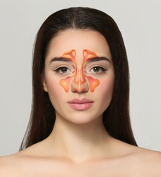 Young woman with illustration of paranasal sinus on grey background. Asthma concept