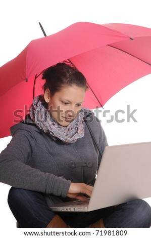young woman with laptop and umbrella