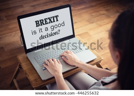 Young woman with laptop - Brexit concept